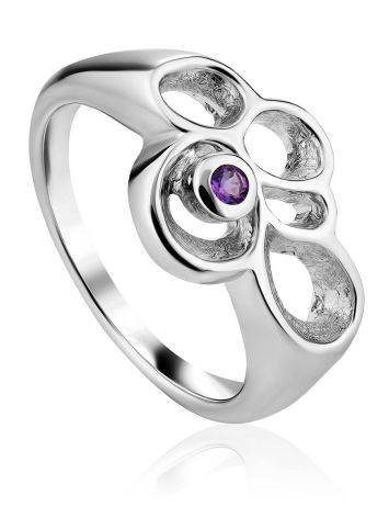 Intricate Design Silver Amethyst Ring, Ring Size: 7 / 17.5, image
