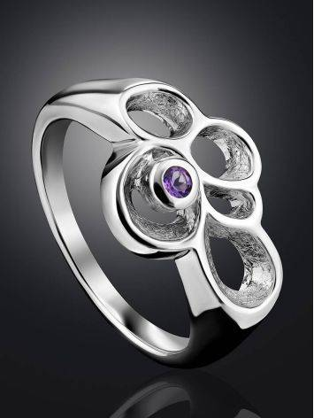 Intricate Design Silver Amethyst Ring, Ring Size: 7 / 17.5, image , picture 2