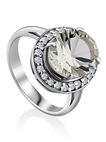 Classy Silver Green Amethyst Ring, Ring Size: 7 / 17.5, image