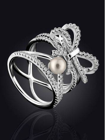 Charming Silver Bow Ring With Pearl And Crystals, Ring Size: 6 / 16.5, image , picture 2