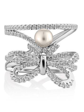 Charming Silver Bow Ring With Pearl And Crystals, Ring Size: 6 / 16.5, image , picture 3