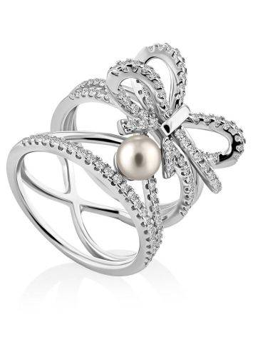 Charming Silver Bow Ring With Pearl And Crystals, Ring Size: 6 / 16.5, image