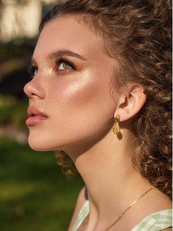Chic Gold Plated Silver Dangles With Luminous Lemon Amber The Palazzo, image , picture 3
