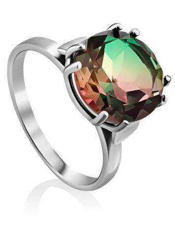 Fabulous Silver Ring With Chameleon Colored Quartz Centerstone, Ring Size: 7 / 17.5, image