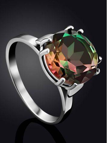 Fabulous Silver Ring With Chameleon Colored Quartz Centerstone, Ring Size: 7 / 17.5, image , picture 2