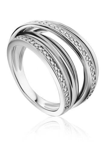 Criss Cross Design Silver Crystal Ring, Ring Size: 7 / 17.5, image