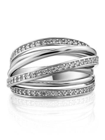 Criss Cross Design Silver Crystal Ring, Ring Size: 7 / 17.5, image , picture 3