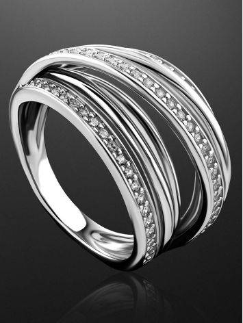 Criss Cross Design Silver Crystal Ring, Ring Size: 7 / 17.5, image , picture 2