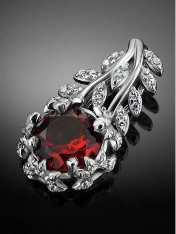 Floral Design Silver Garnet Pendant, image , picture 2