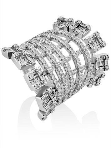 Silver Crystal Statement Ring, Ring Size: 6.5 / 17, image