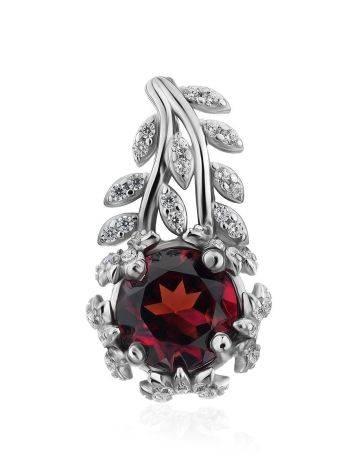 Floral Design Silver Garnet Pendant, image