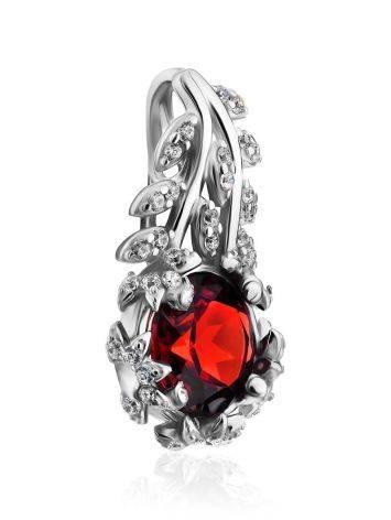 Floral Design Silver Garnet Pendant, image , picture 4
