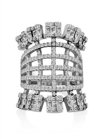 Silver Crystal Statement Ring, Ring Size: 6.5 / 17, image , picture 3