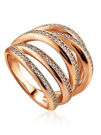 Voluminous Gilded Silver Highway Ring With Crystal Rows, Ring Size: 9 / 19, image