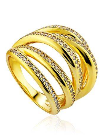 Bold Gilded Silver Crystal Ring, Ring Size: 8 / 18, image