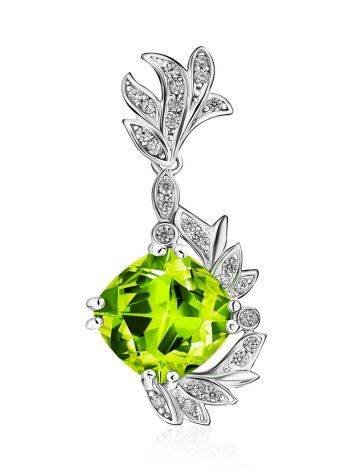 Luminous Silver Pendant With Chrysolite And Crystals, image