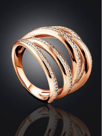 Voluminous Gilded Silver Highway Ring With Crystal Rows, Ring Size: 9 / 19, image , picture 2