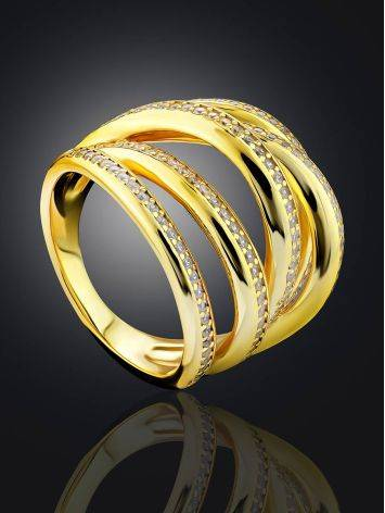 Bold Gilded Silver Crystal Ring, Ring Size: 8 / 18, image , picture 2