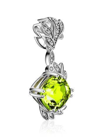 Luminous Silver Pendant With Chrysolite And Crystals, image , picture 4