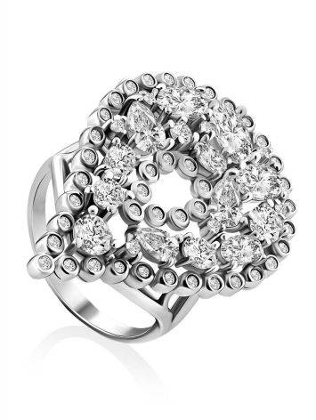Bold Silver Crystal Cocktail Ring, Ring Size: 9.5 / 19.5, image