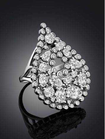 Bold Silver Crystal Cocktail Ring, Ring Size: 9.5 / 19.5, image , picture 2