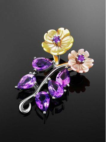 Floral Design Silver Pendant With Amethyst And Nacre, image , picture 2