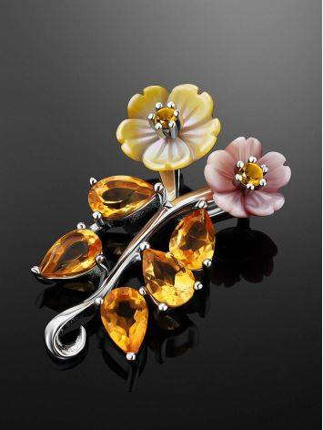 Floral Design Silver Pendant With Nacre And Citrine, image , picture 2