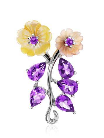 Floral Design Silver Pendant With Amethyst And Nacre, image
