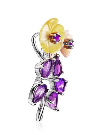 Floral Design Silver Pendant With Amethyst And Nacre, image , picture 4
