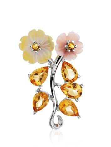 Floral Design Silver Pendant With Nacre And Citrine, image