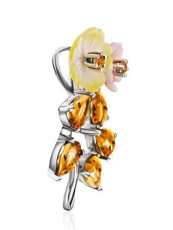 Floral Design Silver Pendant With Nacre And Citrine, image , picture 4