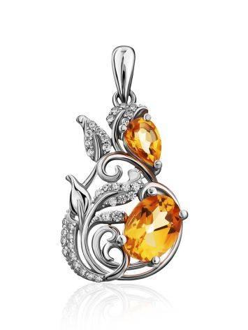 Exquisite Silver Citrine Pendant, image