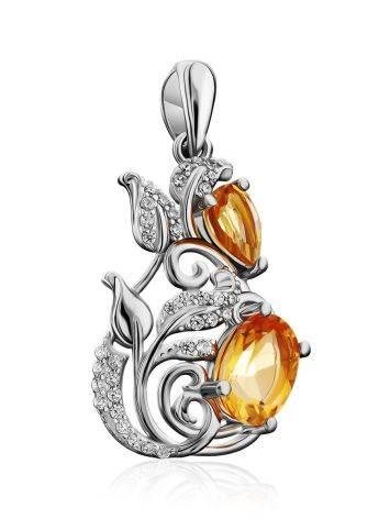 Exquisite Silver Citrine Pendant, image , picture 4