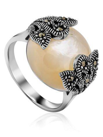 Chic Silver Ring With Nacre And Marcasites The Lace, Ring Size: 8 / 18, image