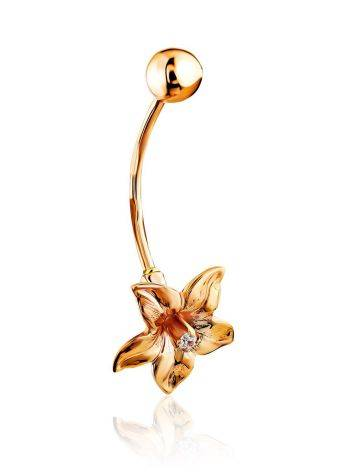 Floral Design Golden Belly Button Piercing Ring, image , picture 3