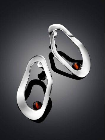 Abstract Design Silver Amber Earrings The Palazzo, image , picture 2