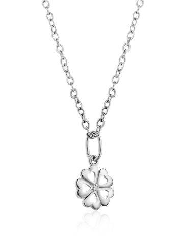 Cute Silver Diamond Clover Shaped Pendant, image , picture 3