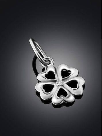 Cute Silver Diamond Clover Shaped Pendant, image , picture 2