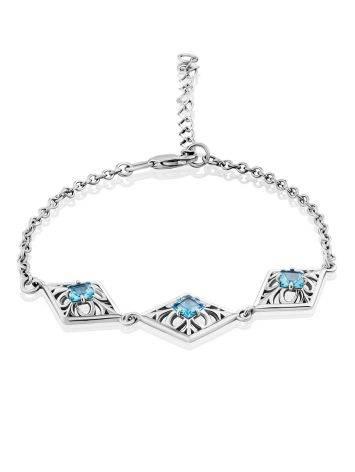 Ornate Silver Topaz Bracelet, image