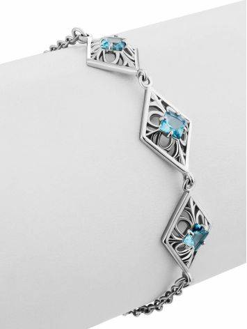 Ornate Silver Topaz Bracelet, image , picture 4