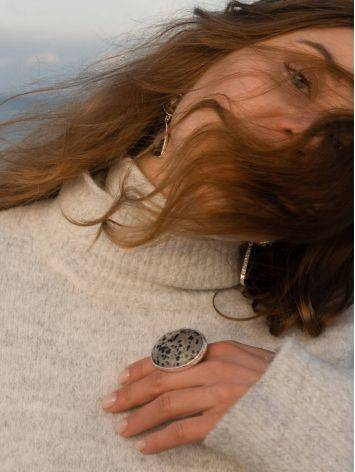 Stunning Speckled Stone Cocktail Ring The Bella Terra, Ring Size: 8 / 18, image , picture 8