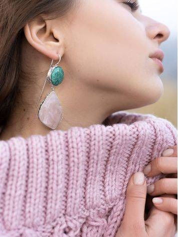Statement Amazonite and Rose Quartz Drop Cocktail Earrings The Bella Terra, image , picture 6