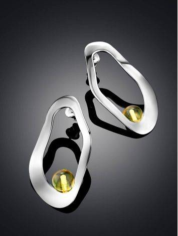 Glossy Silver Amber Earrings The Palazzo, image , picture 2