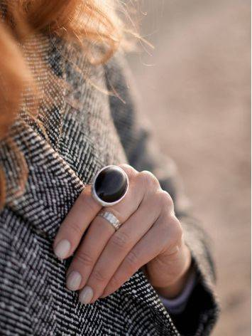 Dramatic Black Round Stone Cocktail Ring The Bella Terra, Ring Size: 8 / 18, image , picture 4