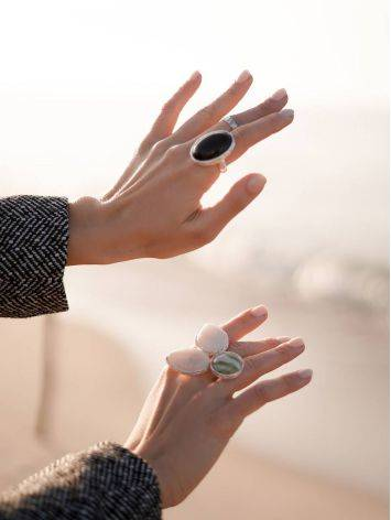 Dramatic Black Round Stone Cocktail Ring The Bella Terra, Ring Size: 8 / 18, image , picture 7