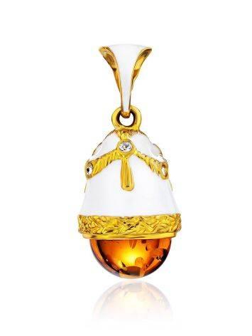 Enamel Egg Pendant With Luminous Amber Stone The Romanov, image