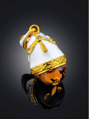 Enamel Egg Pendant With Luminous Amber Stone The Romanov, image , picture 2