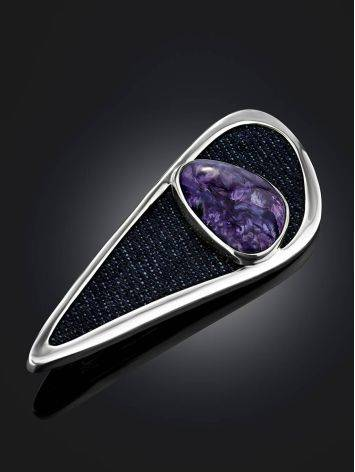 Designer Silver Brooch With Charoite And Denim, image , picture 2
