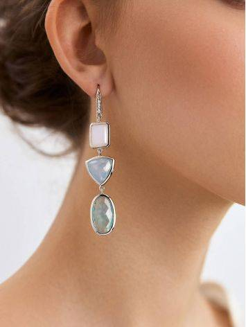 Silver Dangle Earrings With Moon Stone And Blue Agate, image , picture 3
