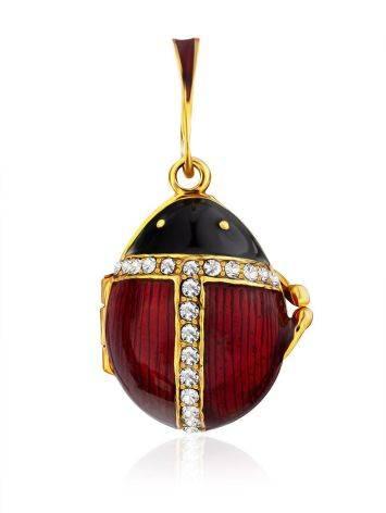Designer Gilded Silver Enamel Locket Pendant With Tiny Angel The Romanov, image